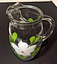 Vtg Barlett Collins Gay Fad Hand Painted Glass Juice Pitcher White Bell ... - $14.95