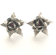 Bugbee and Niles Layered Flower Silver Tone Rose Mauve Screw on Vintage ... - $24.99