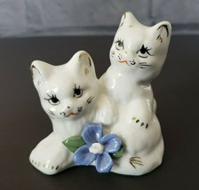 Vintage Cats Porcelain Figurine with Flower Accents - $16.00