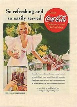 Drink Coca-Cola Lovely Woman Pink Dress Serves Ice Cold Coke Summer Day ... - $9.99