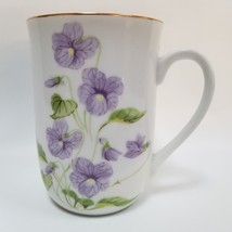 Purple Viola Flower Pansy Otagiri Floral Coffee Mug Ceramic Tea Cup Gold... - $24.99