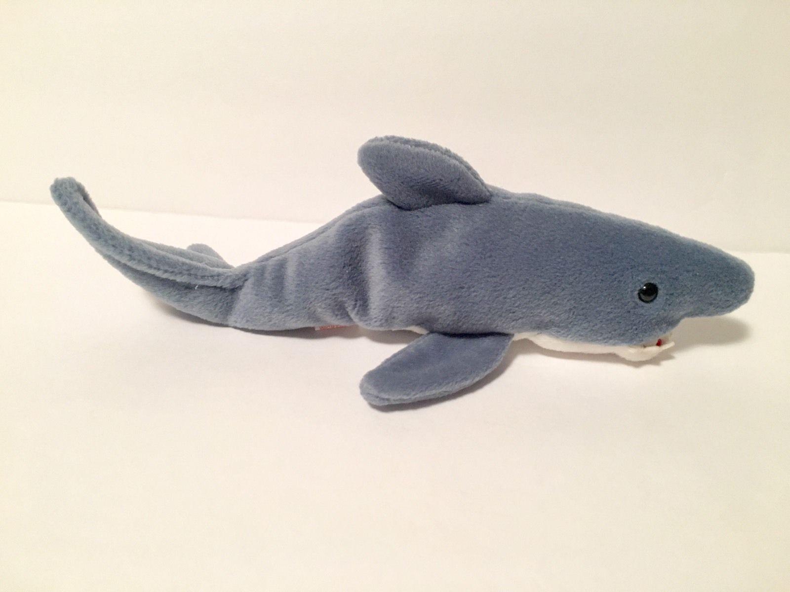 Ty Beanie Babies Plush Beanbag Crunch the Shark Grey White