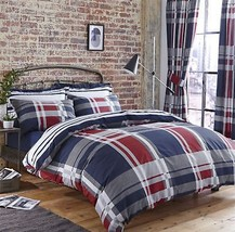 CHECK STRIPED BLUE RED GREY SINGLE DUVET COVER & PENCIL PLEAT CURTAINS - $99.43