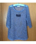 LULU B Size S Blue Mesh Sheer Tunic Open Weave Pull-On Overlay Top 3/4 S... - $29.99