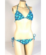Rampage Swim 2 Piece Blue Floral Bikini Swim Suit Womans NWT $104 - $63.74