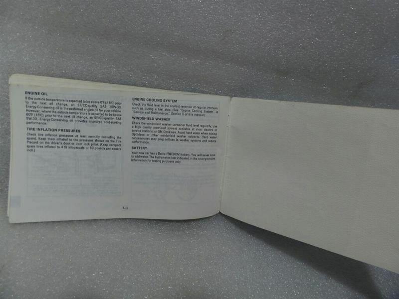 BUICK LESABRE   1988 Owners Manual 14734