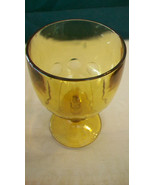 """VINTAGE 6"""" TALL BROWN AMBER GLASS GOBLET WITH CIRCLES ON THE SIDES - $14.85"""