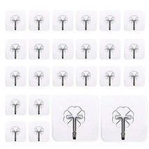 Mocy Adhesive Hooks Wall Hooks, 24 Pack Clear Hooks Strong Sticky Plastic Rotati image 1