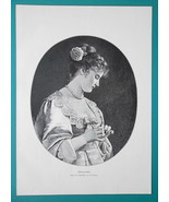 YOUNG MAIDEN Girl in Love Flower Oracle - VICTORIAN Era Engraving Print - $16.20