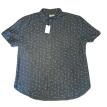 Lucky Brand M Saturday Stretch Ditsy Print chambray short sleeve button ... - $24.50