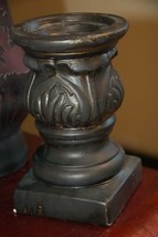 "Vintage Lenox Pillar Candle Holder Ceramic Black Gold Art Nouveau Needs Tlc 7"" H - $24.99"