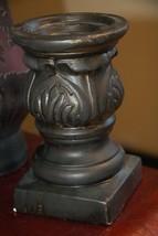 "Vintage Lenox Pillar Candle Holder Ceramic Black Gold Art Nouveau Needs Tlc 7"" H - $24.99"