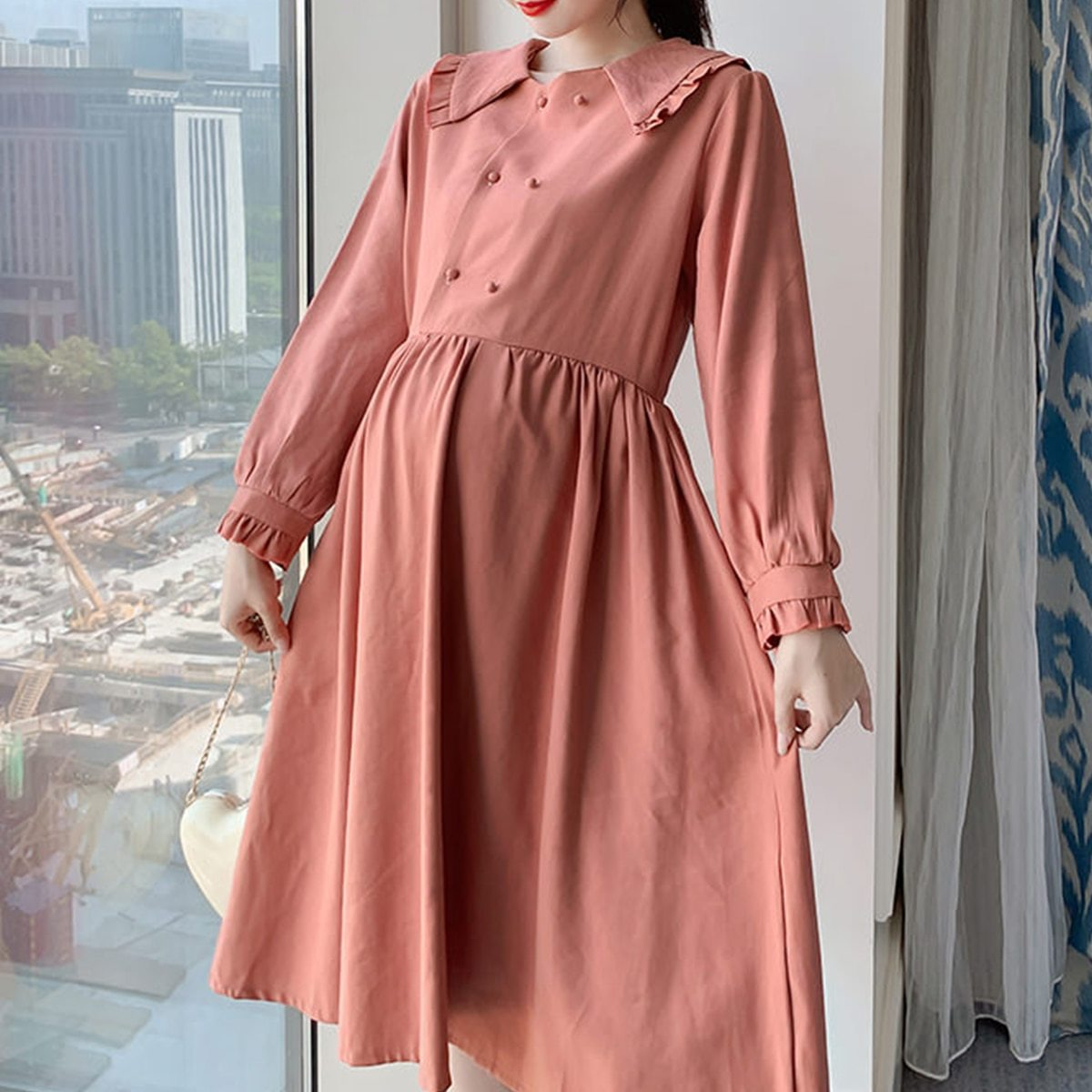 Maternity Dress Long Sleeve Solid Color Loose Dress image 5