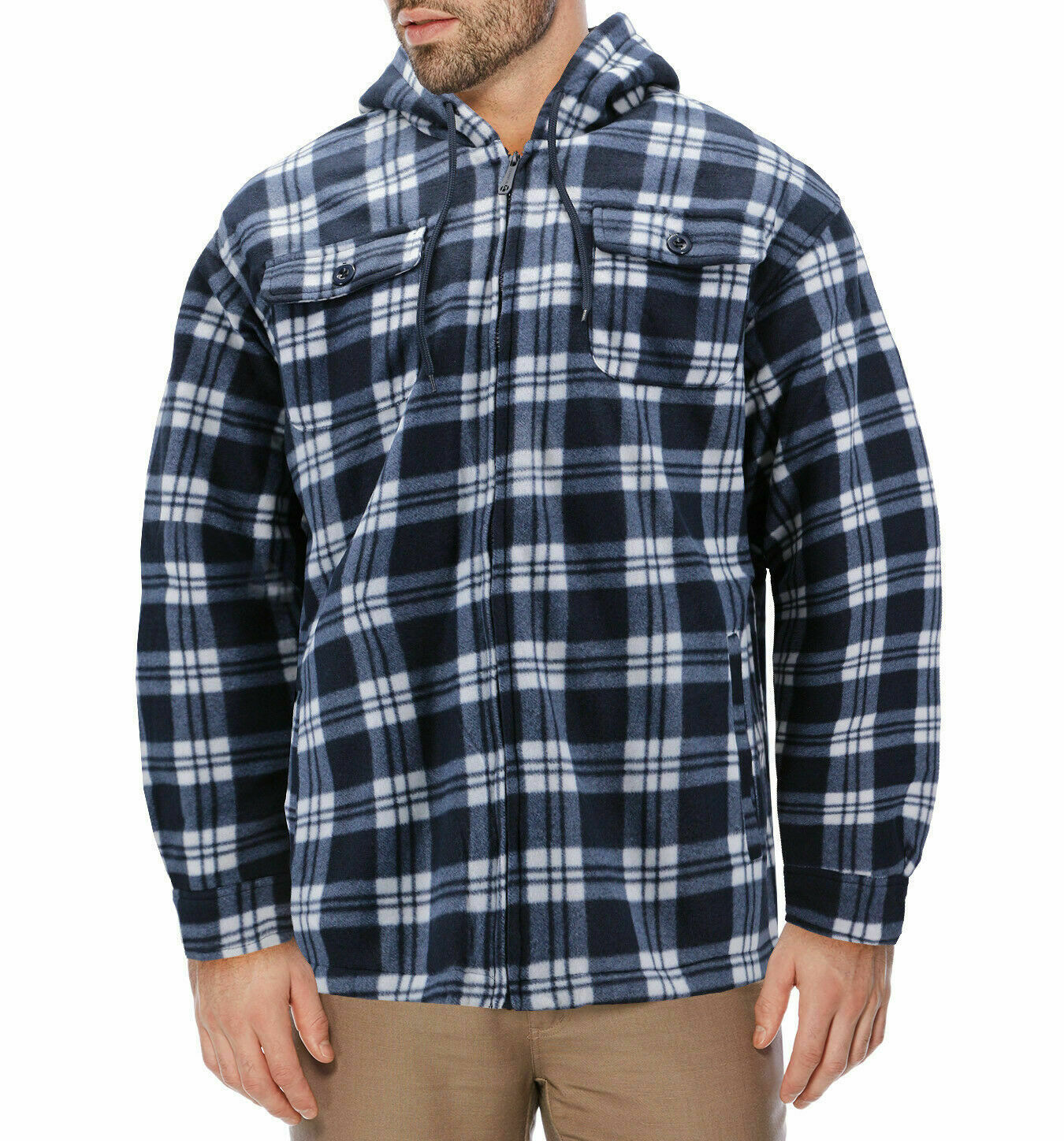 Men's Heavyweight Zip Up Fleece Plaid Sherpa Lined Hoodie Jacket w/ Defect - L