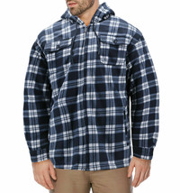 Men's Heavyweight Zip Up Fleece Plaid Sherpa Lined Hoodie Jacket w/ Defect - L image 1
