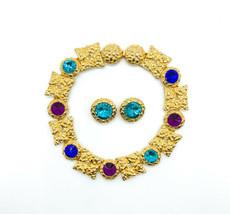 Vintage Duplaise Gold Tone Gem Colored Rhinestone Statement Earring Necklace Set - $224.99