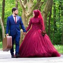 Muslim Long Sleeves Ball Gown Tulle Beaded Wedding Dress 2019 - $199.99