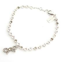 NWT COACH Bow Chain Bracelet Bangle Jewelry Silver Stone swarovski F28867 Gift - $67.32