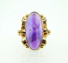 14k Yellow Gold Large Retro Russian Genuine Natural Amethyst Ring (#J5054) - $495.00