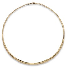 """PalmBeach Jewelry Gold Tone Metal 6 mm Omega-Link Choker Necklace 16"""" - $18.39"""