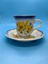 Mikasa Country Club CA503 Coffee Cup & Saucer Set Orange Wildflowers - $17.77