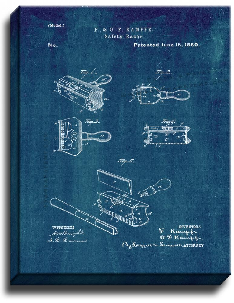 Primary image for Safety Razor Patent Print Midnight Blue on Canvas