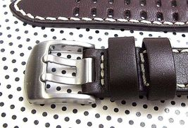 ARCADIA 18mm Italian Genuine Leather Watch Band Strap-Calf khaki & seamaster image 3