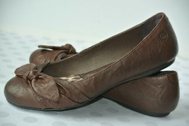 BORN Adele Womens Sz 7 / 38 Brown Leather Bow Ballet Flats NICE!! - $23.75