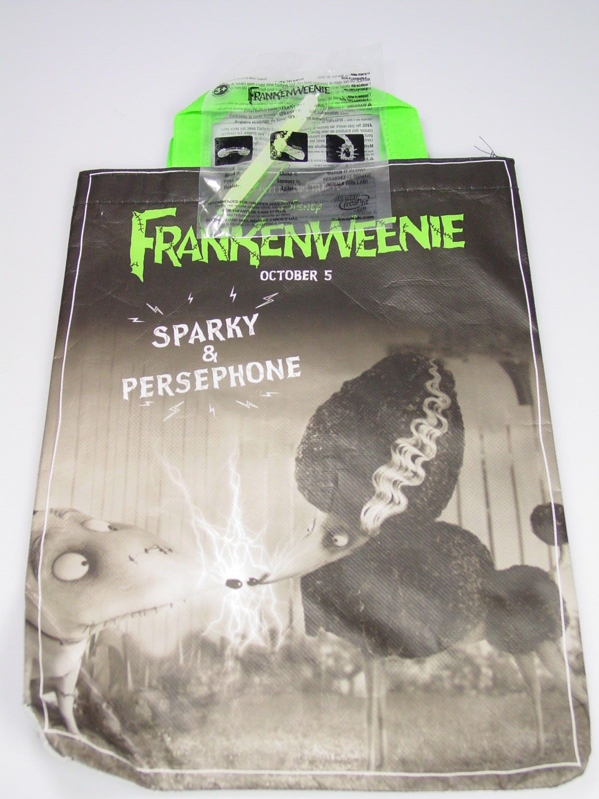 Disney FRANKENWEENIE Persephone Sparky Tim Burton Halloween treat bag subway