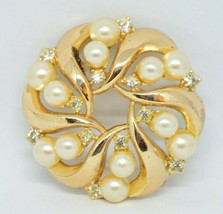 1950's CROWN TRIFARI Clear Rhinestone Faux Pearl Pin Brooch Vintage Pat Pend - $49.50