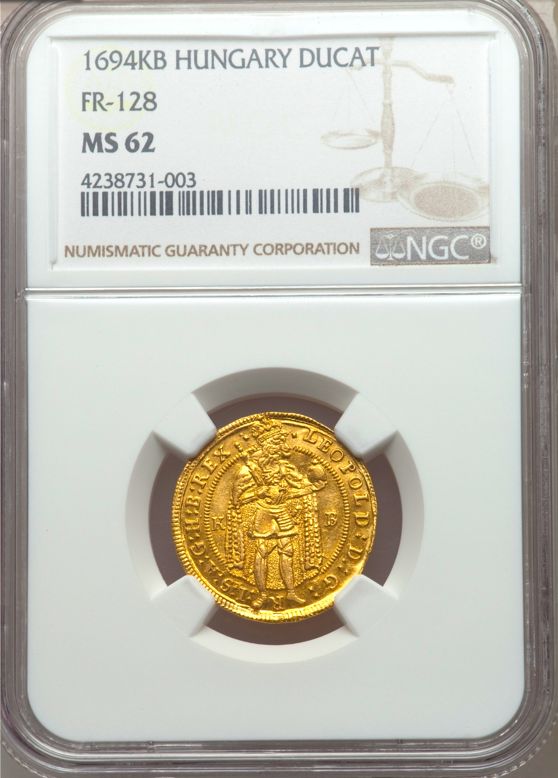 """HUNGARY 1694 """"DATED"""" GOLD DUCAT NGC 62 """"LEOPOLD"""" ONLY 6 KNOWN! """"MADONNA"""" COIN"""