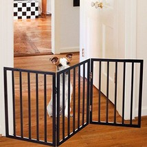 Free-Standing Wooden Pet Gate Foldable Lightweight Indoor 24 Inch Small... - $45.93