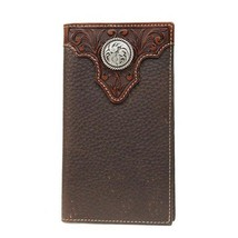 Ariat Tooled Overlay & Circle Concho Leather Rodeo Wallet, Chocolate Brown - $48.24