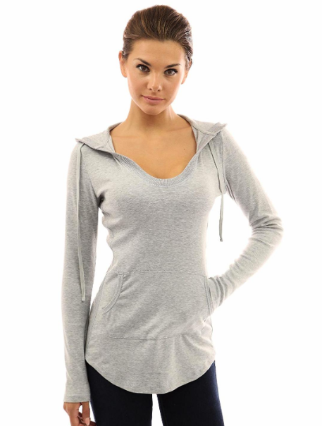 PattyBoutik X-Large (XL) Women's Hoodie Curve Hem Tunic Top Light Heather Grey