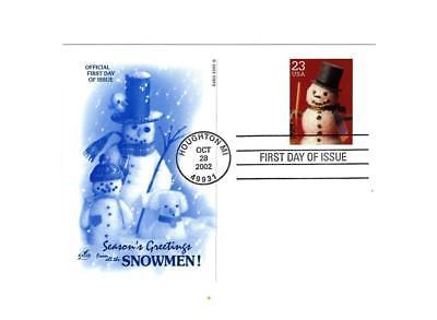"""POSTCARD- #4 """"SEASON'S GREETING FROM ALL THE SNOWMEN""""-FIRST DAY ISSUE  BK10"""
