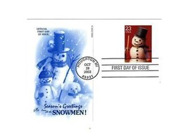 "POSTCARD- #4 ""SEASON'S GREETING FROM ALL THE SNOWMEN""-FIRST DAY ISSUE  BK10 - $1.96"