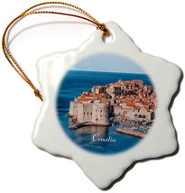 3dRose Image of Croatia Seaside Ancient Buildings and Marina Snowflake O... - $36.99
