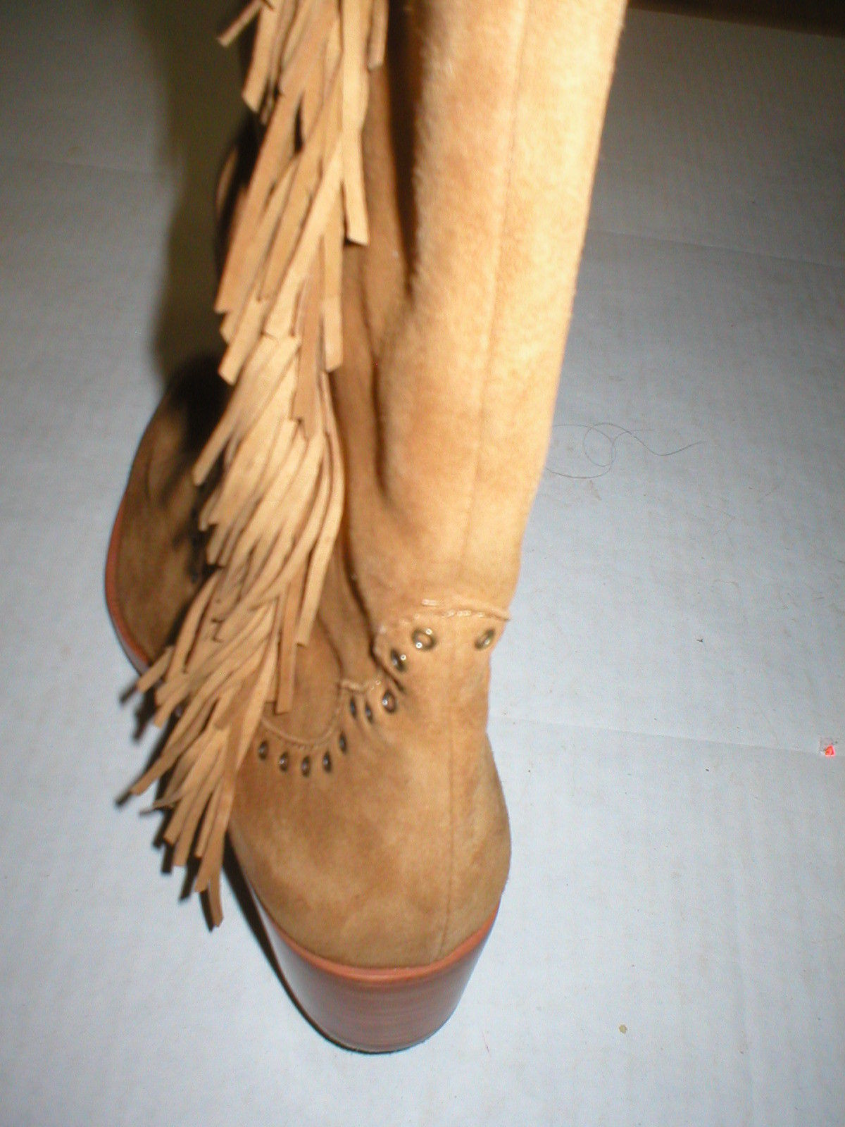 New $578 Womens 9.5 Frye Suede Leather Boots OTK Tall Knee Fringe Ray Camel Tan image 10