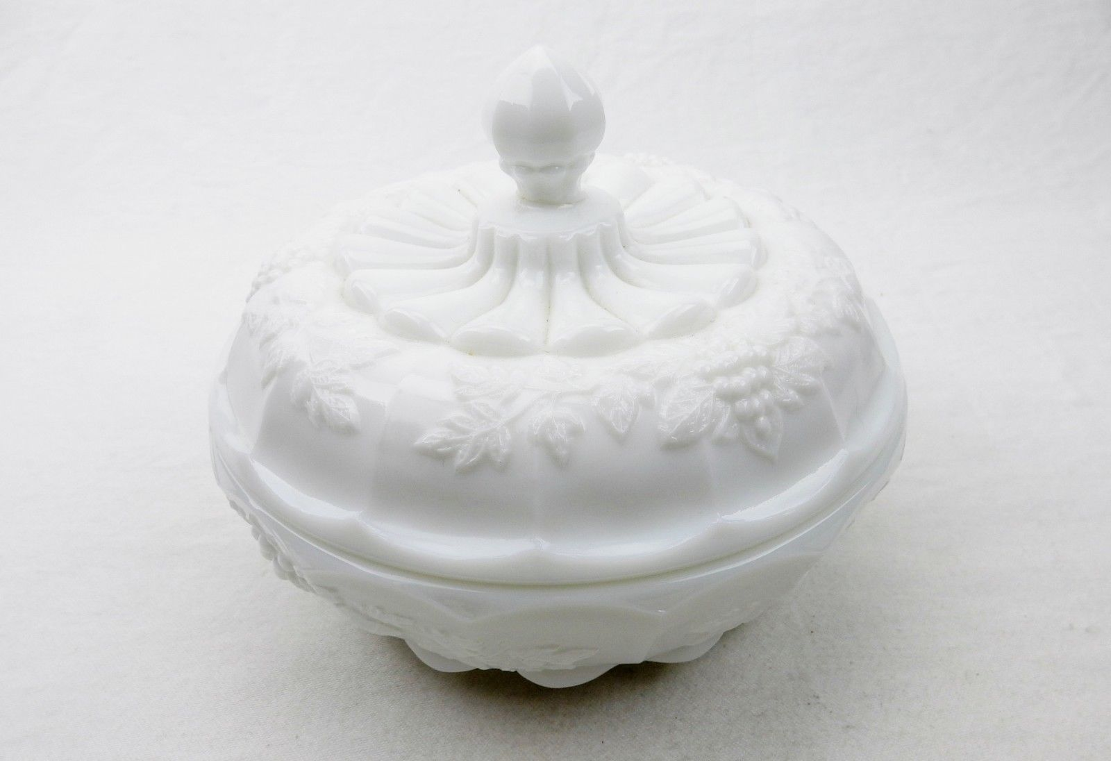 Primary image for Vintage Westmoreland Covered Candy Dish~Grape & Leaf Design Milk Glass, 1950s