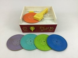 Fisher Price Music Box Record Player with 5 Discs 995 Wind up Toy Vintag... - $69.45