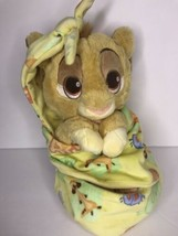 Disney Parks Babies Simba Lion King Baby Plush with Blanket Pouch Blanki... - $24.18