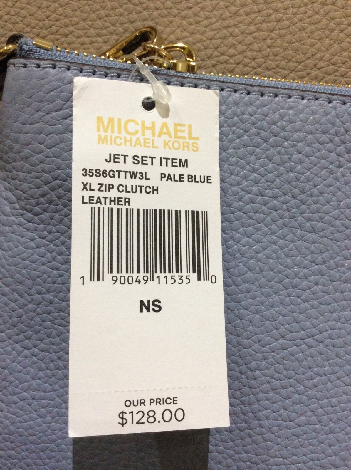 c950e38c45deb9 Michael Kors New $128 X Large Leather Zip Clutch PALE BLUE NEW WITH TAGS