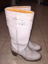 FRYE FABULOUS TALL CUT OUT FLAP W EMBROIDERY BOOTS RARE VINTAGE 8 1/2 B - $64.35