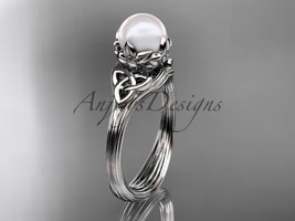 Pearl Triquetra Celtic Knot Bridal Ring 14kt White Diamond Wedding Ring CTP7240 - $650.00