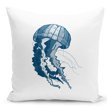 Throw Pillow Beach House Jelly Fish Natical Marine Animals Sea Life Pillow 16x16 - $28.49