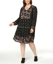 Style & Co. Plus Size 2X Dress V-Neck Mixed-Print Chic Peasant Dress NEW... - $21.24