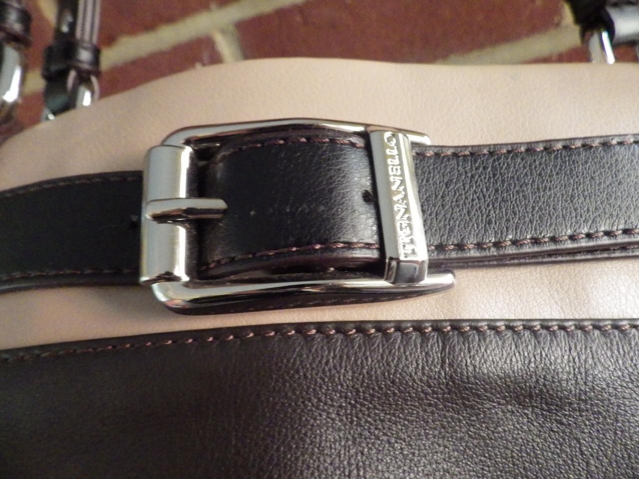 TIGNANELLO Brown and Tan Leather Handbag Shoulderbag Buckle Excellent - $24.74