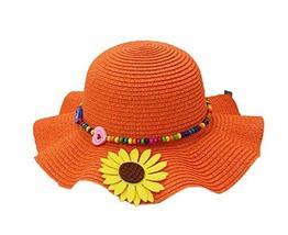 PANDA SUPERSTORE Beautiful Summer Straw Beach Sunflower Orange Girl Hat