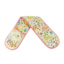 FLOWER BEE HAPPY CREAM PINK BLUE ORANGE QUILTED 100% COTTON DOUBLE OVEN ... - $11.30