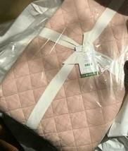 Pottery Barn Belgian Flax Quilt Soft Rose Queen 2 Euro Sham Linen Diamond Blush - $299.00